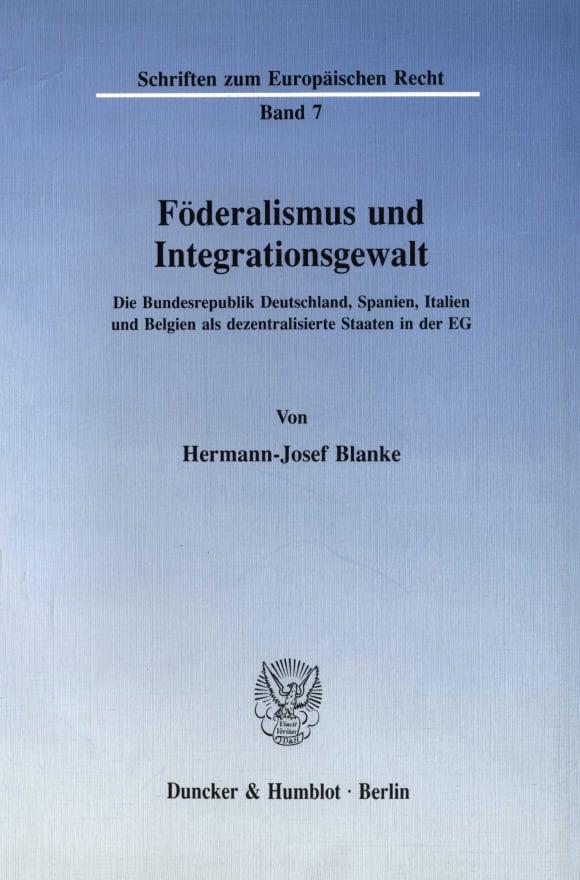 Cover Föderalismus und Integrationsgewalt