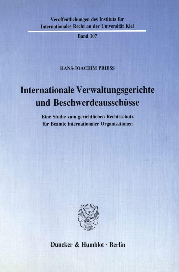 Cover Internationale Verwaltungsgerichte und Beschwerdeausschüsse