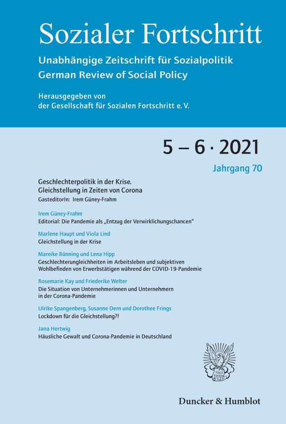 Cover Geschlechterpolitik in der Krise. Gleichstellung in Zeiten von Corona (SF 5–6/2021)