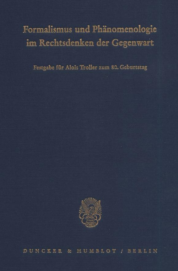 Cover Formalismus und Phänomenologie im Rechtsdenken der Gegenwart