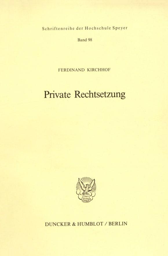 Cover Private Rechtsetzung