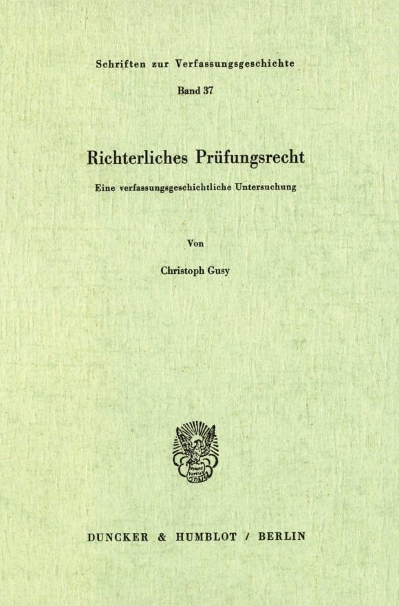 Cover Richterliches Prüfungsrecht