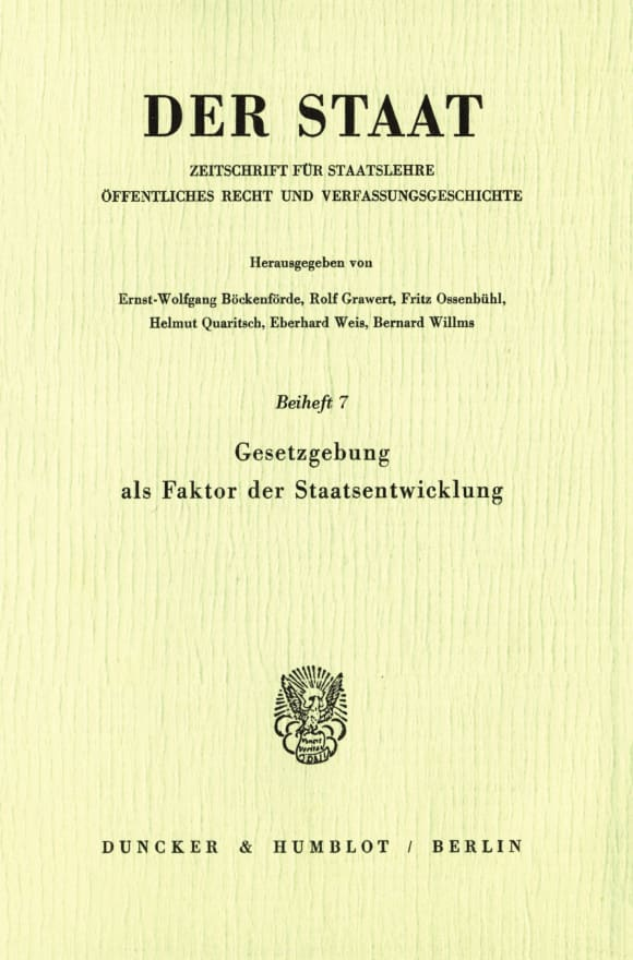 Cover Gesetzgebung als Faktor der Staatsentwicklung