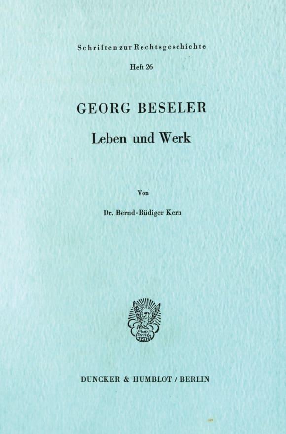 Cover Georg Beseler