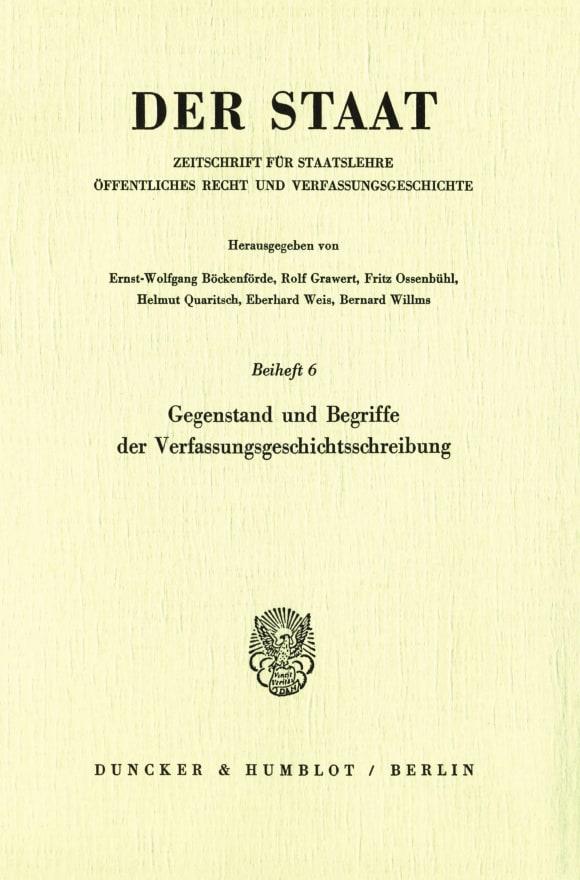 Cover Gegenstand und Begriffe der Verfassungsgeschichtsschreibung