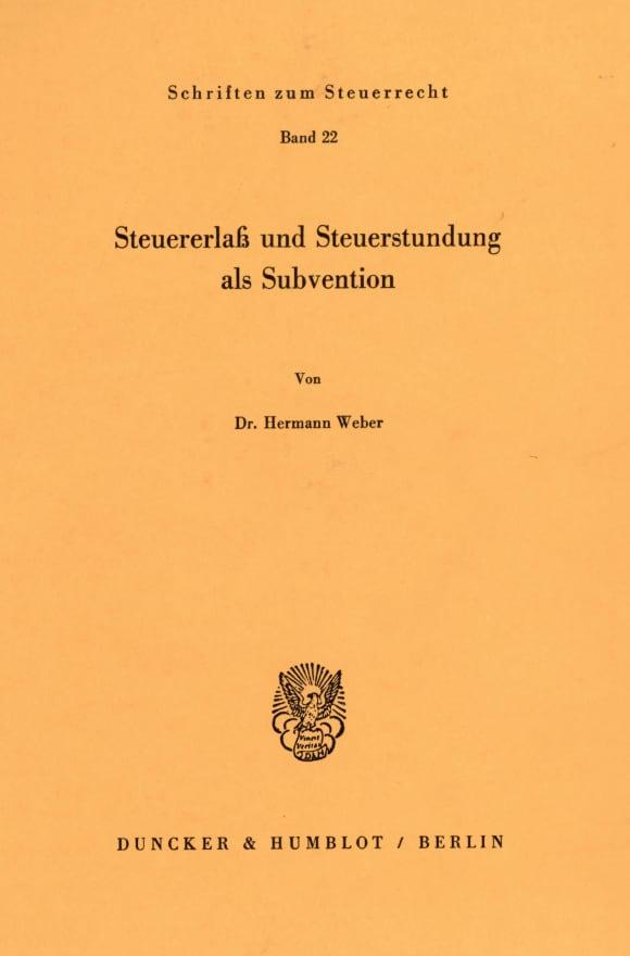 Cover Steuererlaß und Steuerstundung als Subvention
