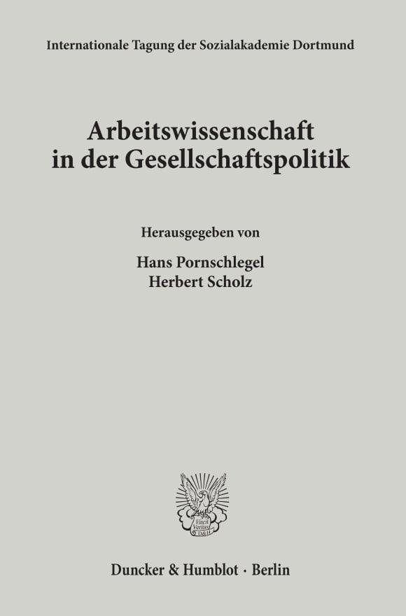 Cover Arbeitswissenschaft in der Gesellschaftspolitik