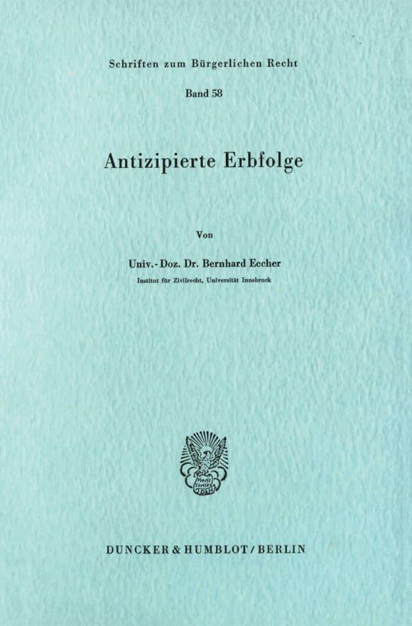 Cover Antizipierte Erbfolge