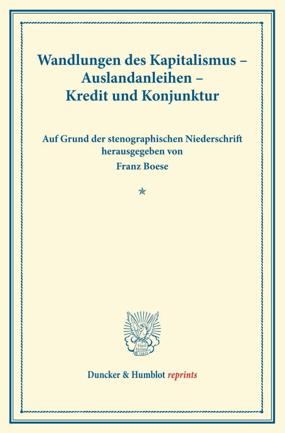 Cover Wandlungen des Kapitalismus – Auslandanleihen – Kredit und Konjunktur