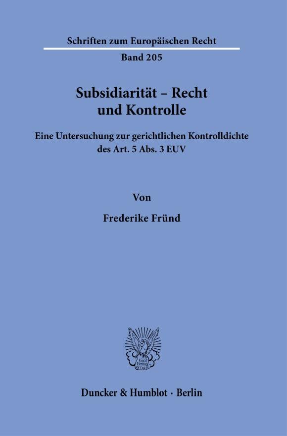 Cover Subsidiarität – Recht und Kontrolle