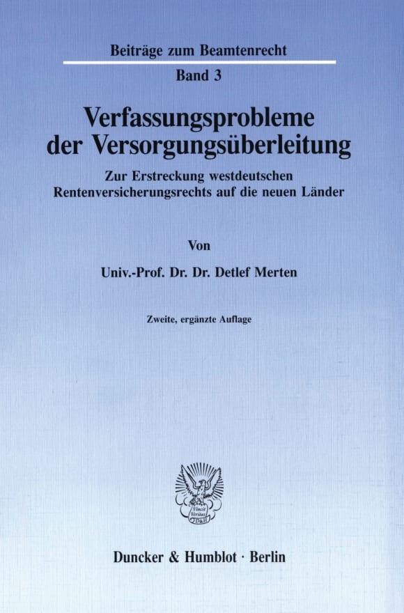 Cover Verfassungsprobleme der Versorgungsüberleitung