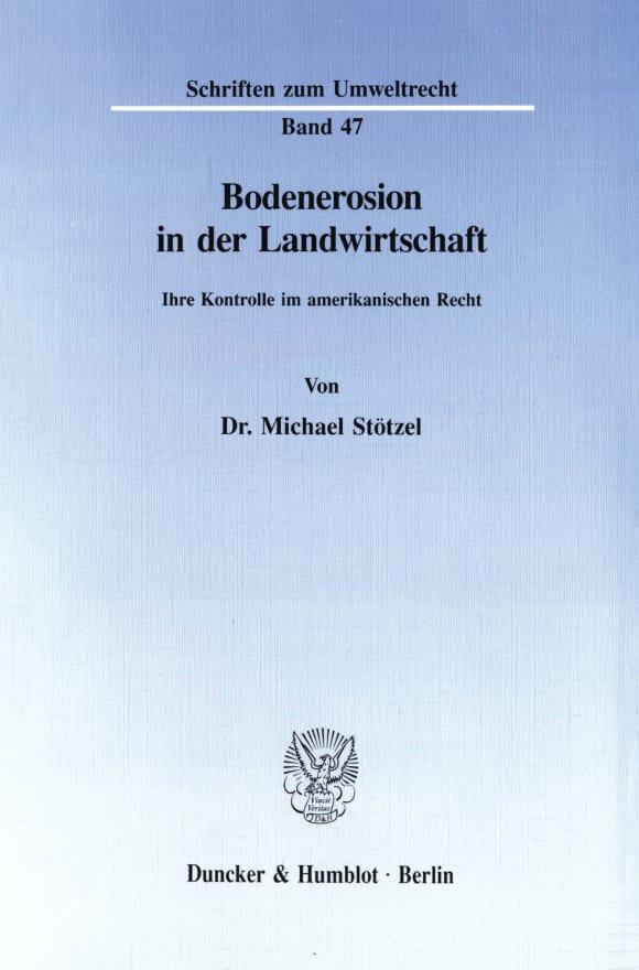 Cover Bodenerosion in der Landwirtschaft