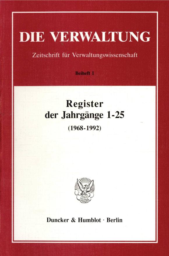Cover Register der Jahrgänge 1 - 25 der Zeitschrift