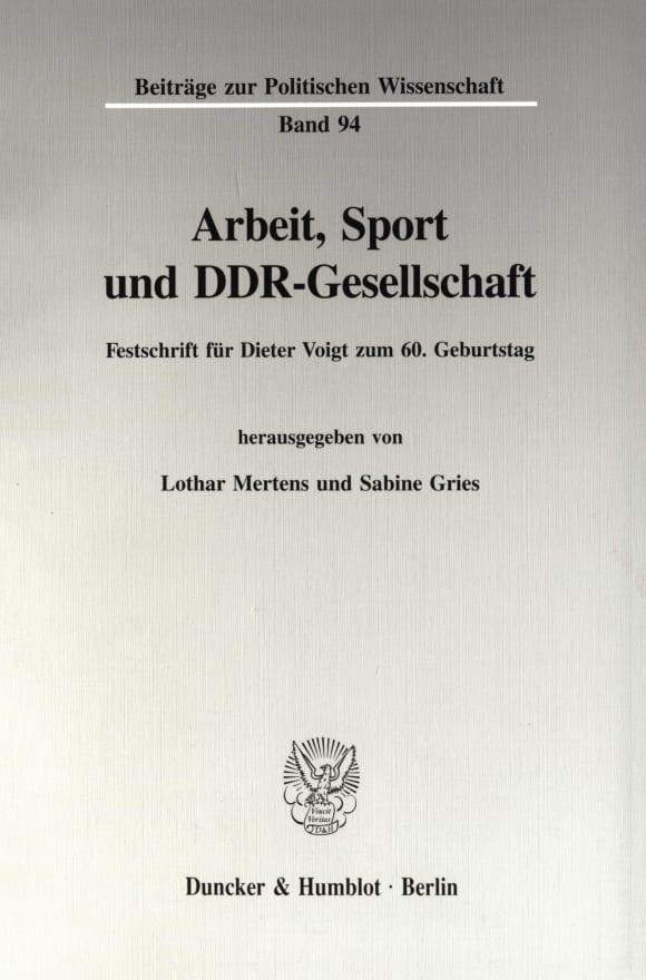 Cover Arbeit, Sport und DDR-Gesellschaft