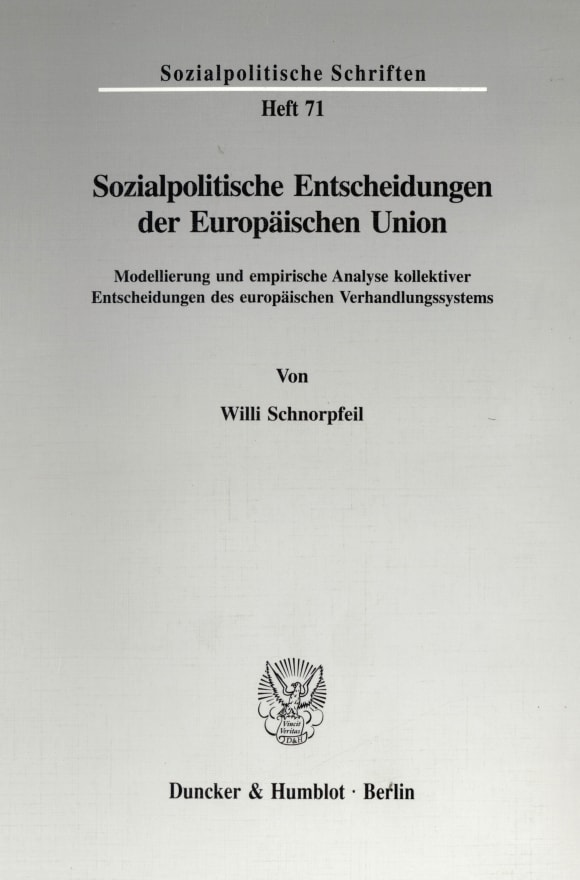 Cover Sozialpolitische Entscheidungen der Europäischen Union