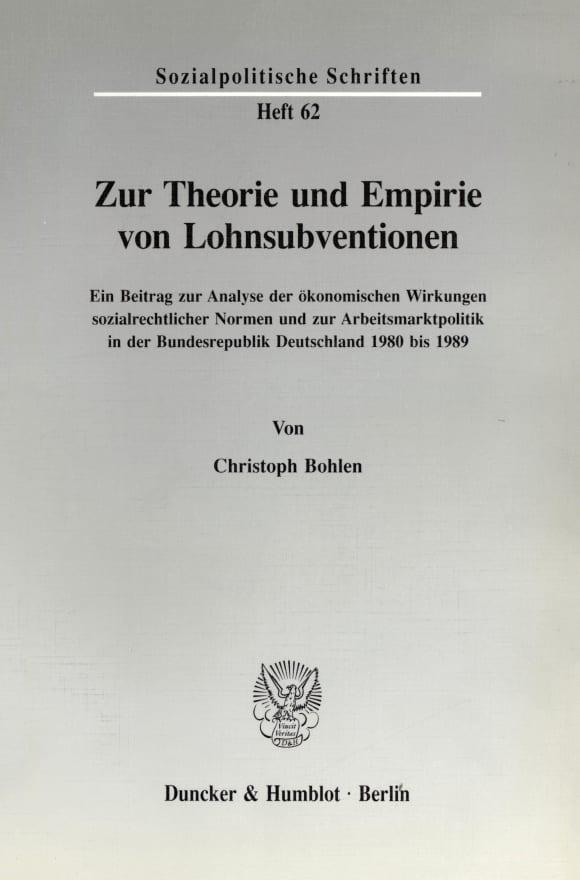 Cover Zur Theorie und Empirie von Lohnsubventionen