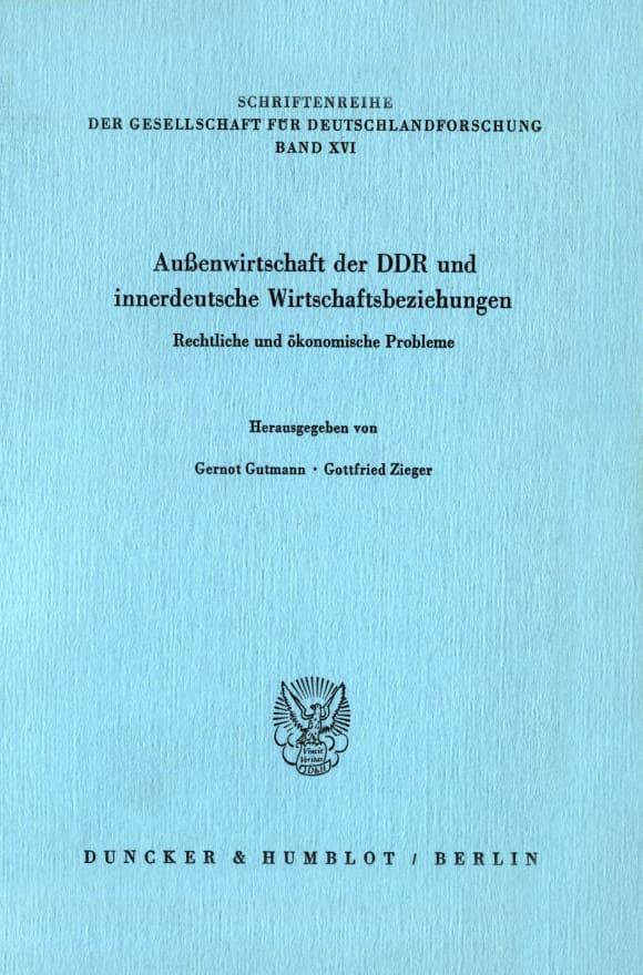 Cover Außenwirtschaft der DDR und innerdeutsche Wirtschaftsbeziehungen
