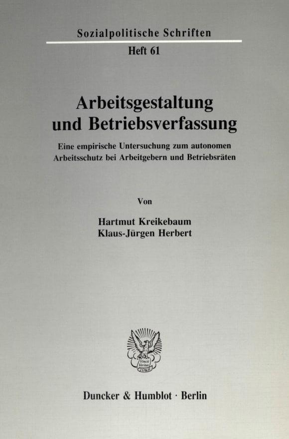 Cover Arbeitsgestaltung und Betriebsverfassung
