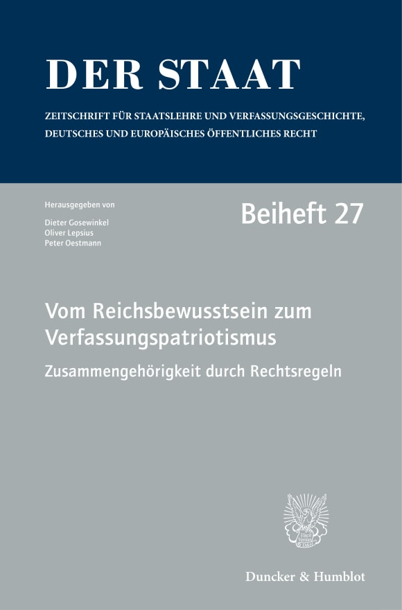 Cover Vom Reichsbewusstsein zum Verfassungspatriotismus. Zusammengehörigkeit durch Rechtsregeln