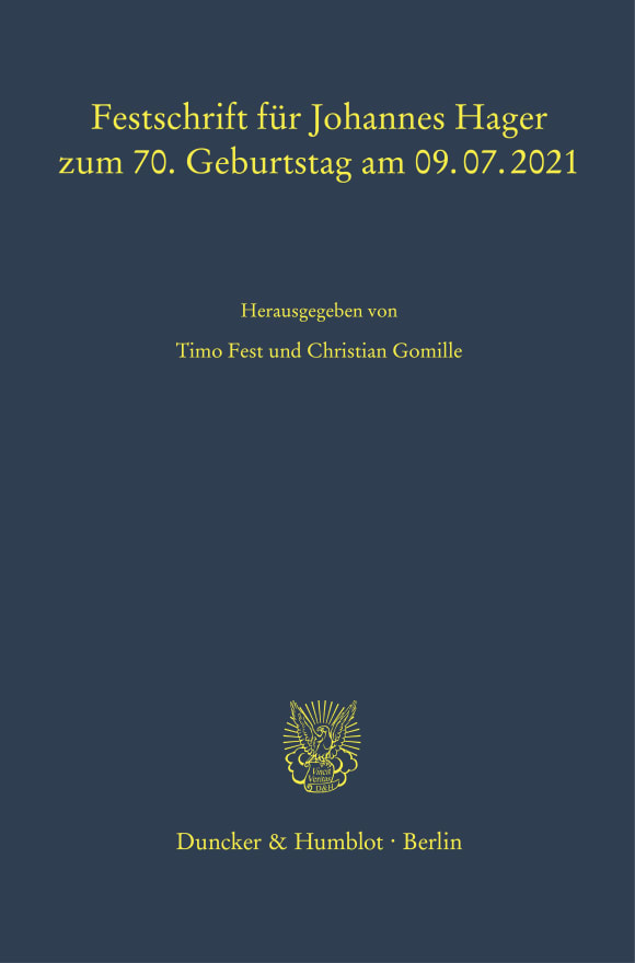 Cover Festschrift für Johannes Hager zum 70. Geburtstag am 09.07.2021