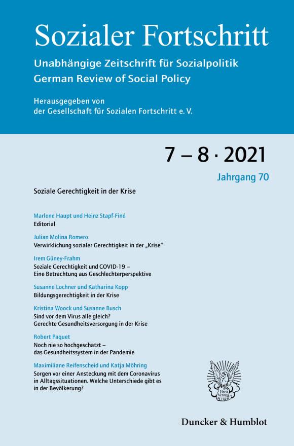 Cover Soziale Gerechtigkeit in der Krise (SF 7–8/2021)