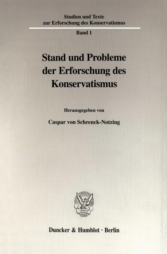 Cover Stand und Probleme der Erforschung des Konservatismus