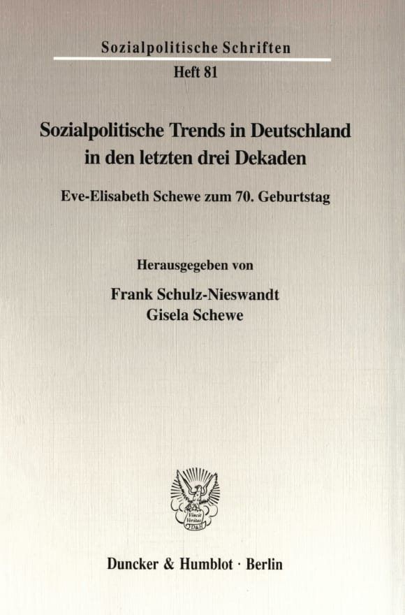 Cover Sozialpolitische Trends in Deutschland in den letzten drei Dekaden