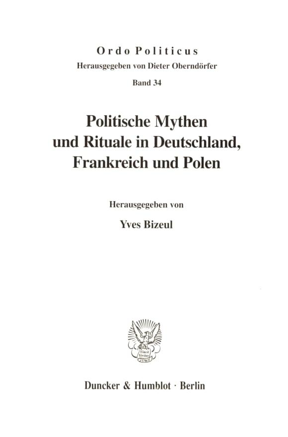 Cover Politische Mythen und Rituale in Deutschland, Frankreich und Polen
