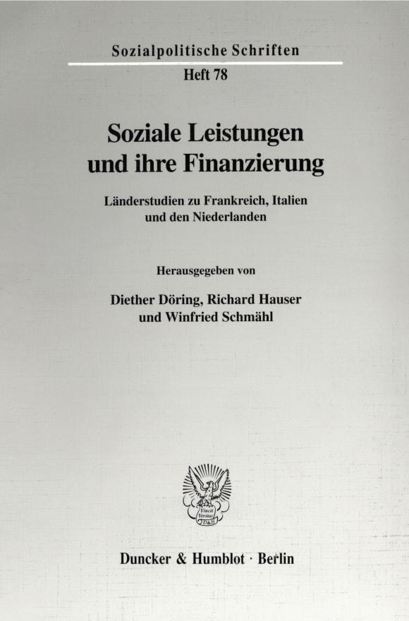Cover Soziale Leistungen und ihre Finanzierung