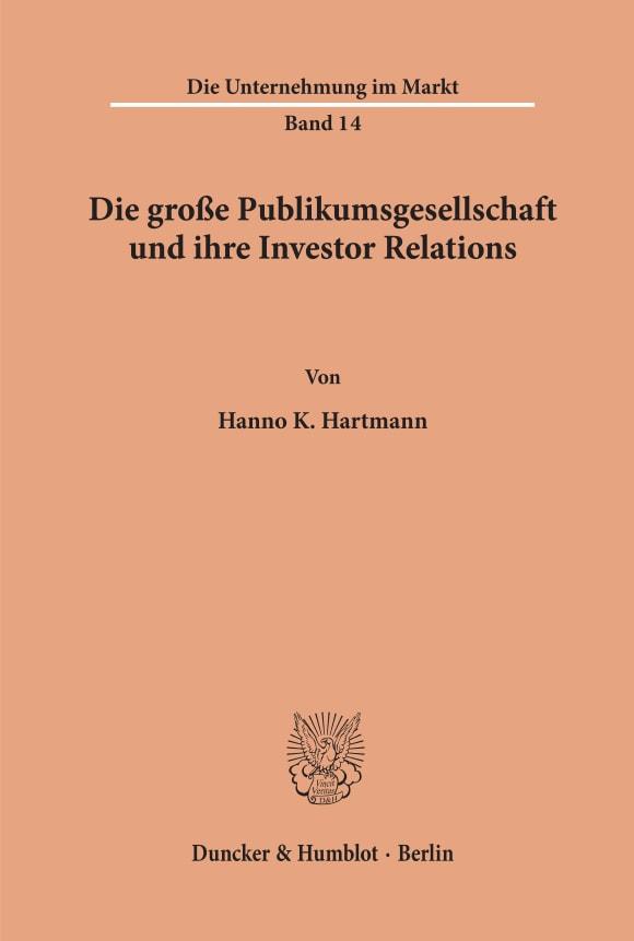 Cover Die große Publikumsgesellschaft und ihre Investor Relations