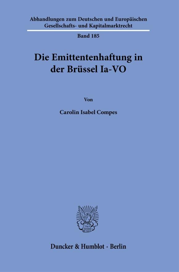 Cover Die Emittentenhaftung in der Brüssel Ia-VO
