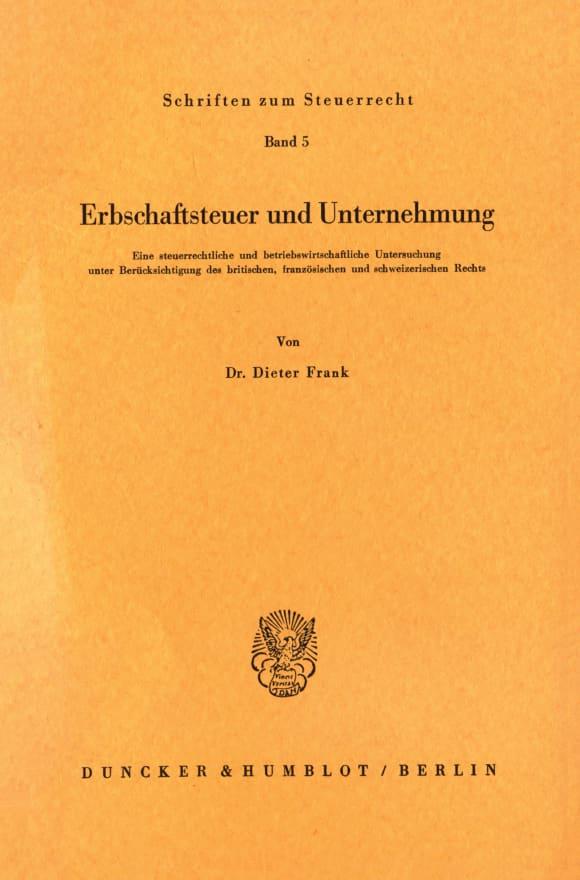 Cover Erbschaftsteuer und Unternehmung