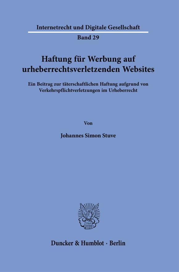 Cover Haftung für Werbung auf urheberrechtsverletzenden Websites