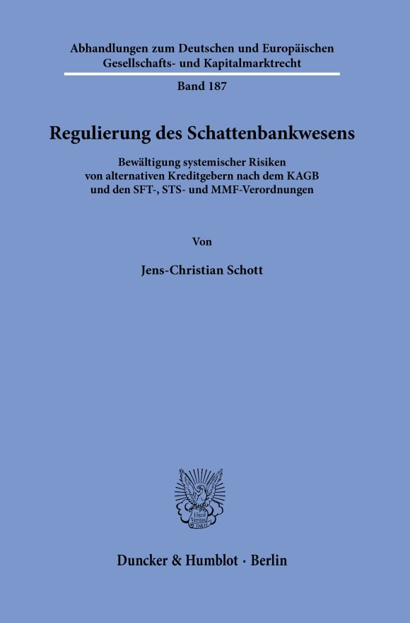 Cover Regulierung des Schattenbankwesens
