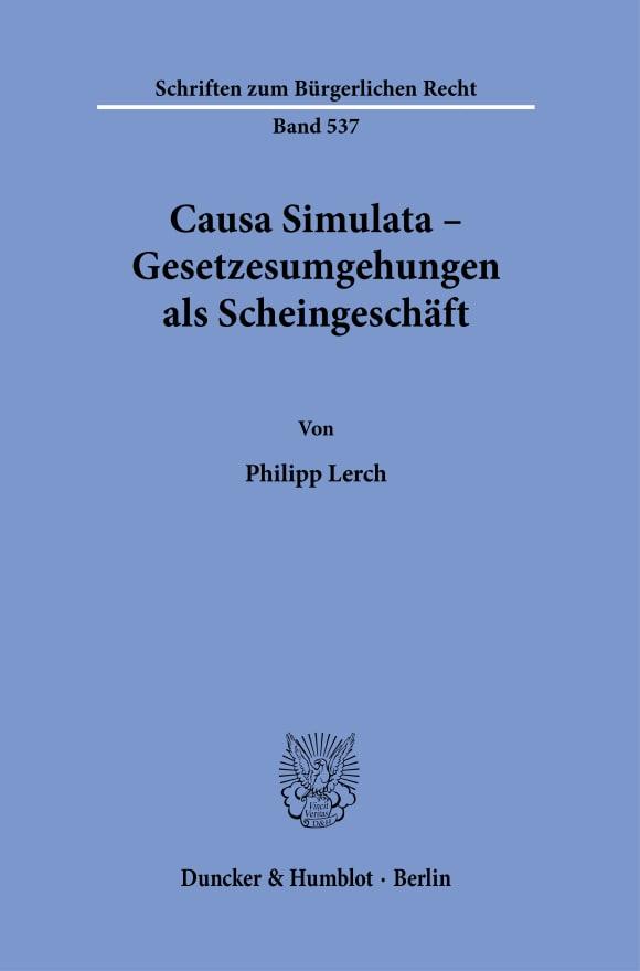 Cover Causa Simulata – Gesetzesumgehungen als Scheingeschäft
