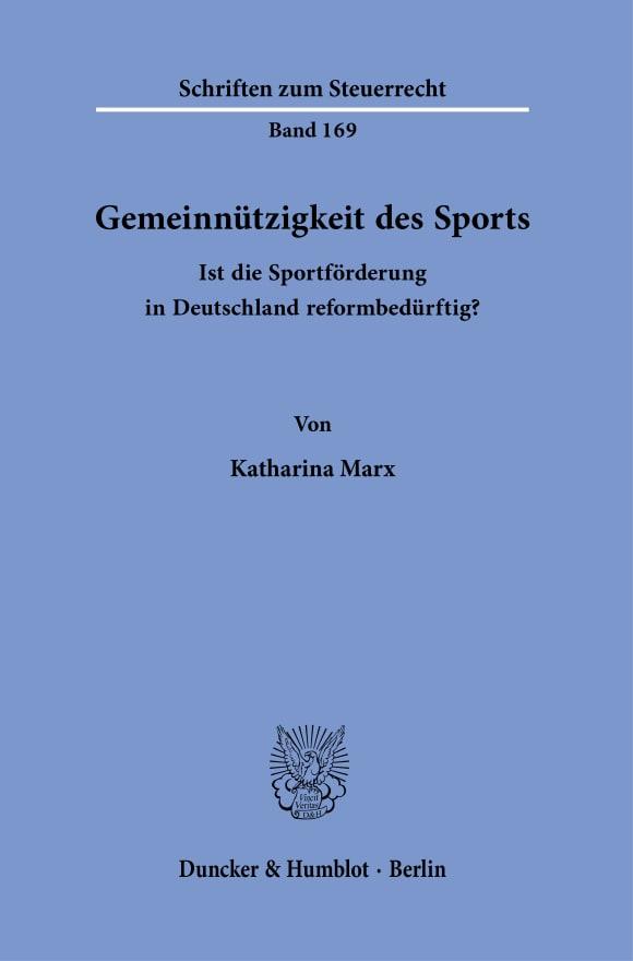 Cover Gemeinnützigkeit des Sports