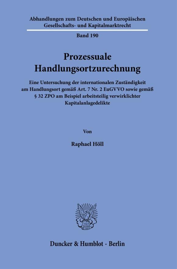 Cover Prozessuale Handlungsortzurechnung