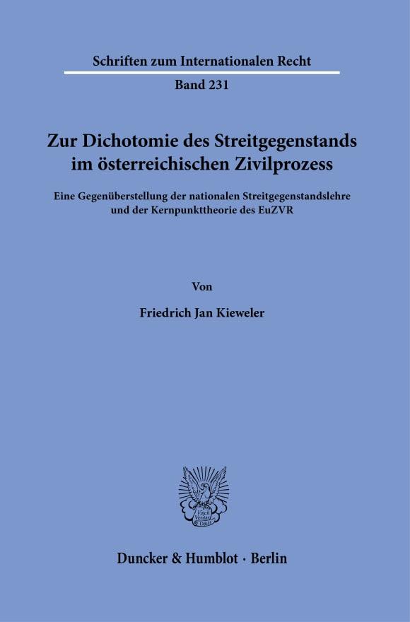 Cover Zur Dichotomie des Streitgegenstands im österreichischen Zivilprozess