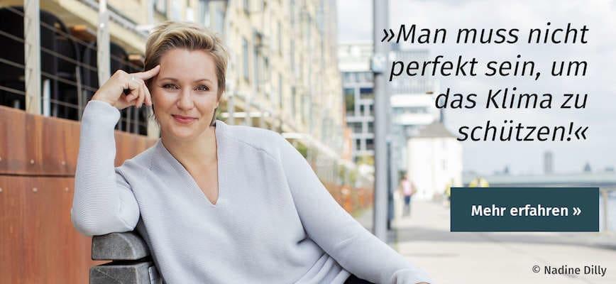 Portrait von Janine Steeger mit Zitat über ihr Buch »Going Green«
