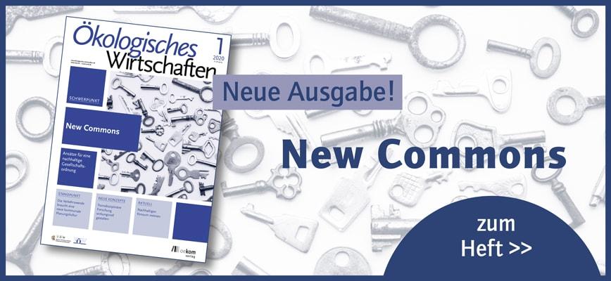 Cover der aktuellen Ausgabe von Ökologisches Wirtschaften zum Thema New Commons