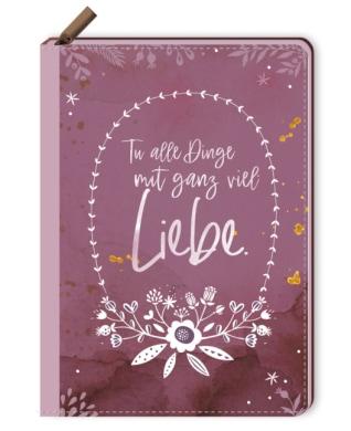 Notizbuch mit Reißverschluss - Tu alle Dinge mit ganz viel Liebe