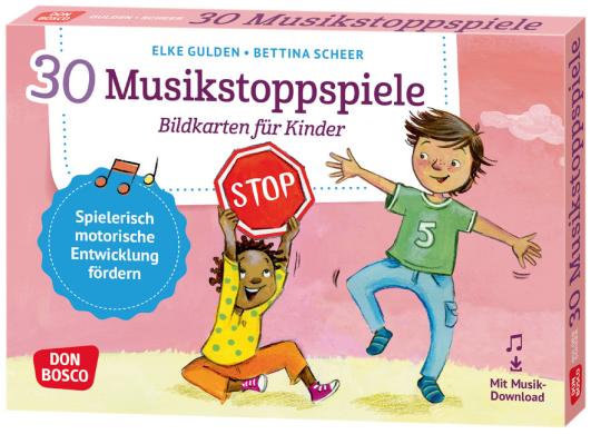 30 Musikstoppspiele. Bildkarten für Kinder.