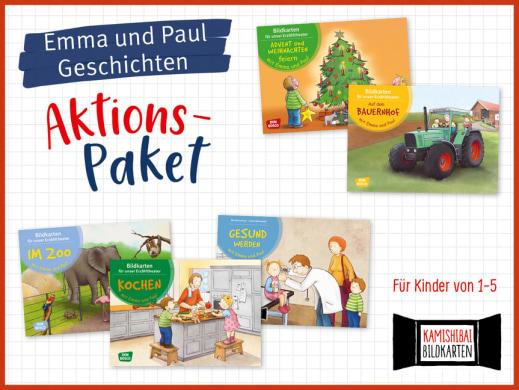 5 Emma und Paul-Geschichten fürs Kamishibai. Bildkartensets im Aktions-Paket mit Preisvorteil.