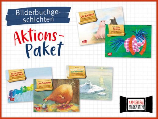 5 Bilderbuchgeschichten fürs Kamishibai. Bildkartensets im Aktions-Paket mit Preisvorteil.