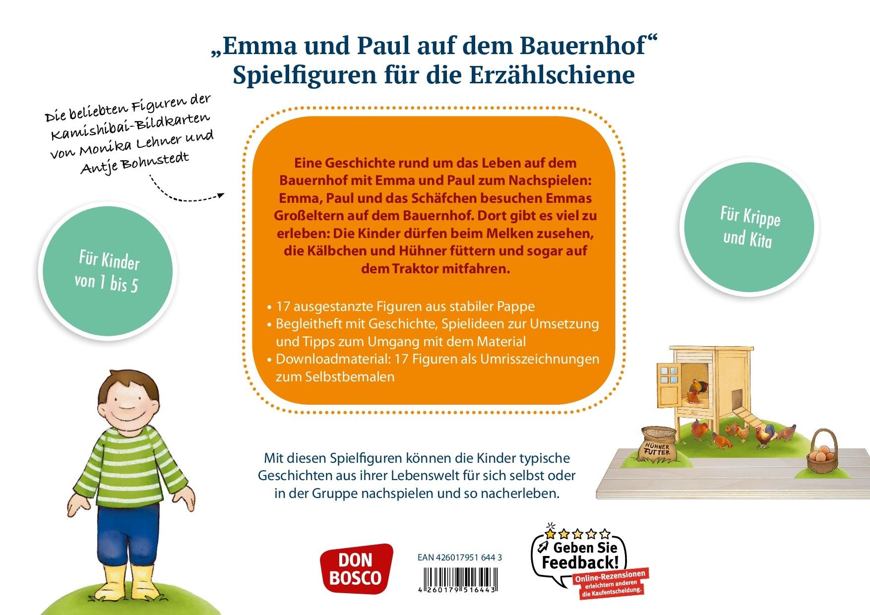 Innenansicht zu Emma und Paul auf dem Bauernhof. Spielfiguren für die Erzählschiene