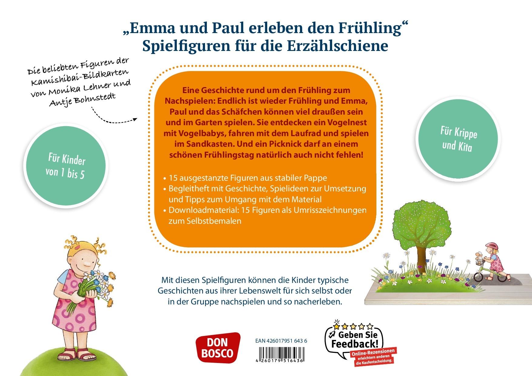 Innenansicht zu Emma und Paul erleben den Frühling. Spielfiguren für die Erzählschiene