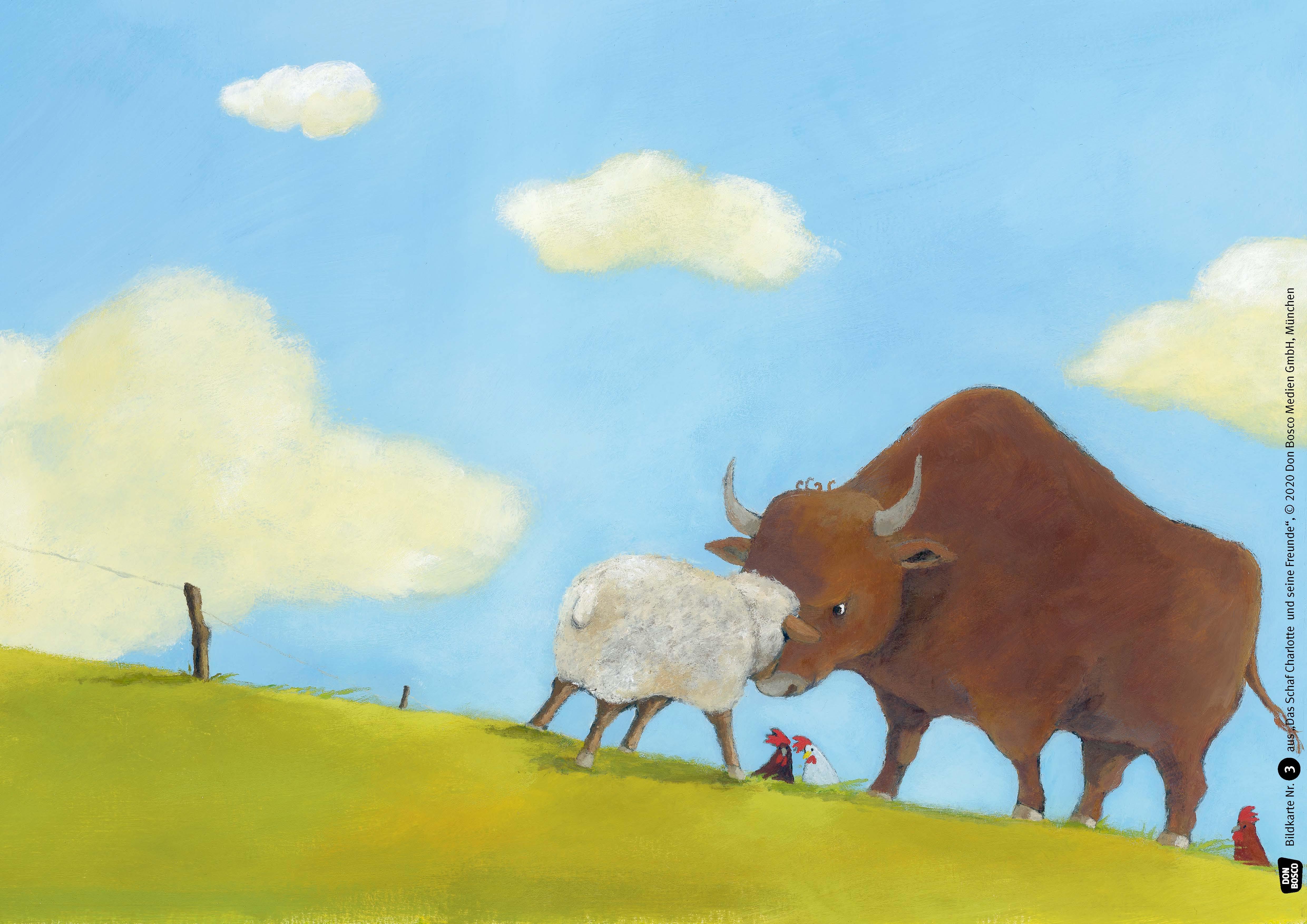 Innenansicht zu Das Schaf Charlotte und seine Freunde. Kamishibai Bildkartenset.