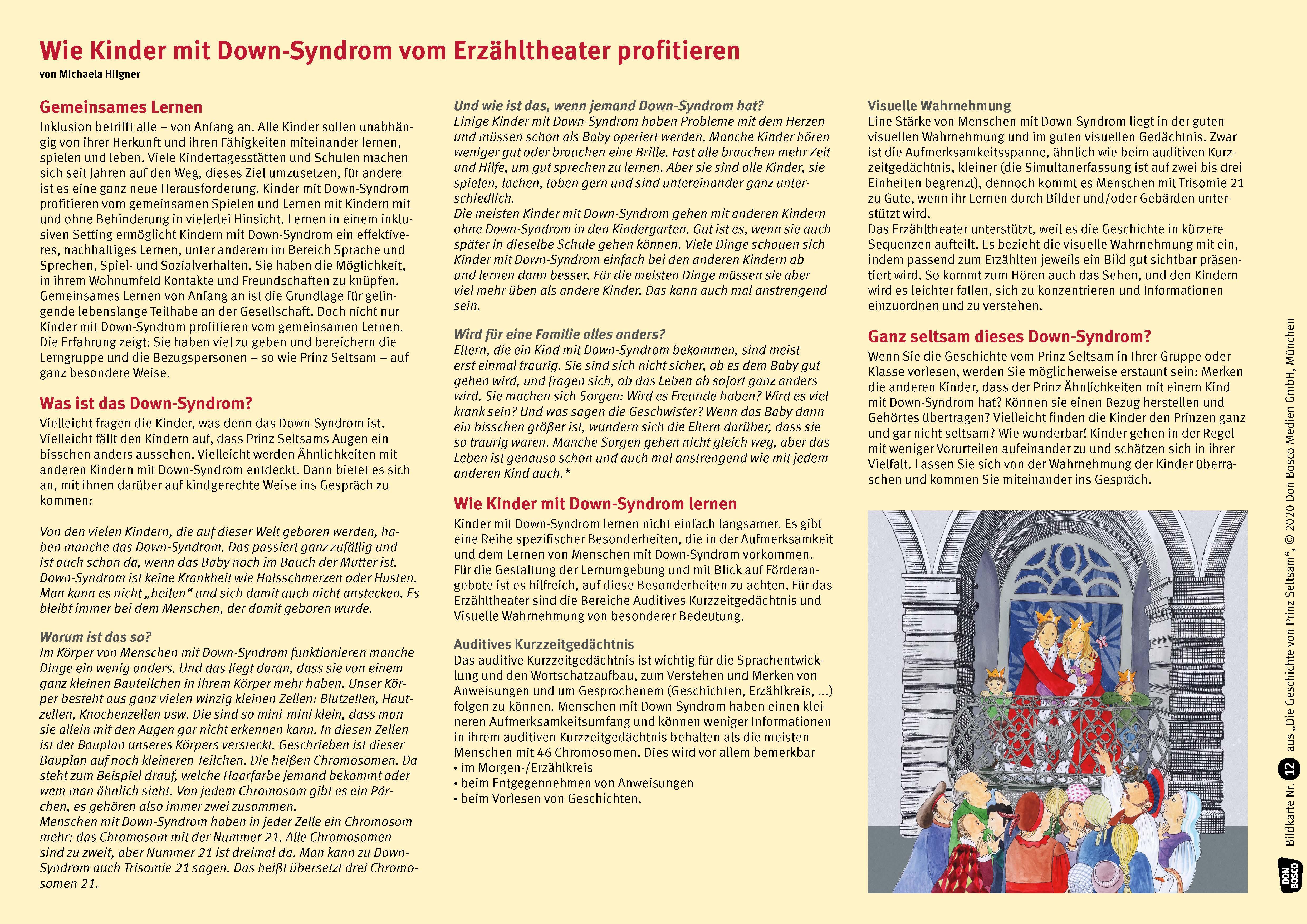 Innenansicht zu Die Geschichte von Prinz Seltsam. Wie gut, dass jeder anders ist! Kamishibai Bildkartenset mit Informationen zum Down-Syndrom