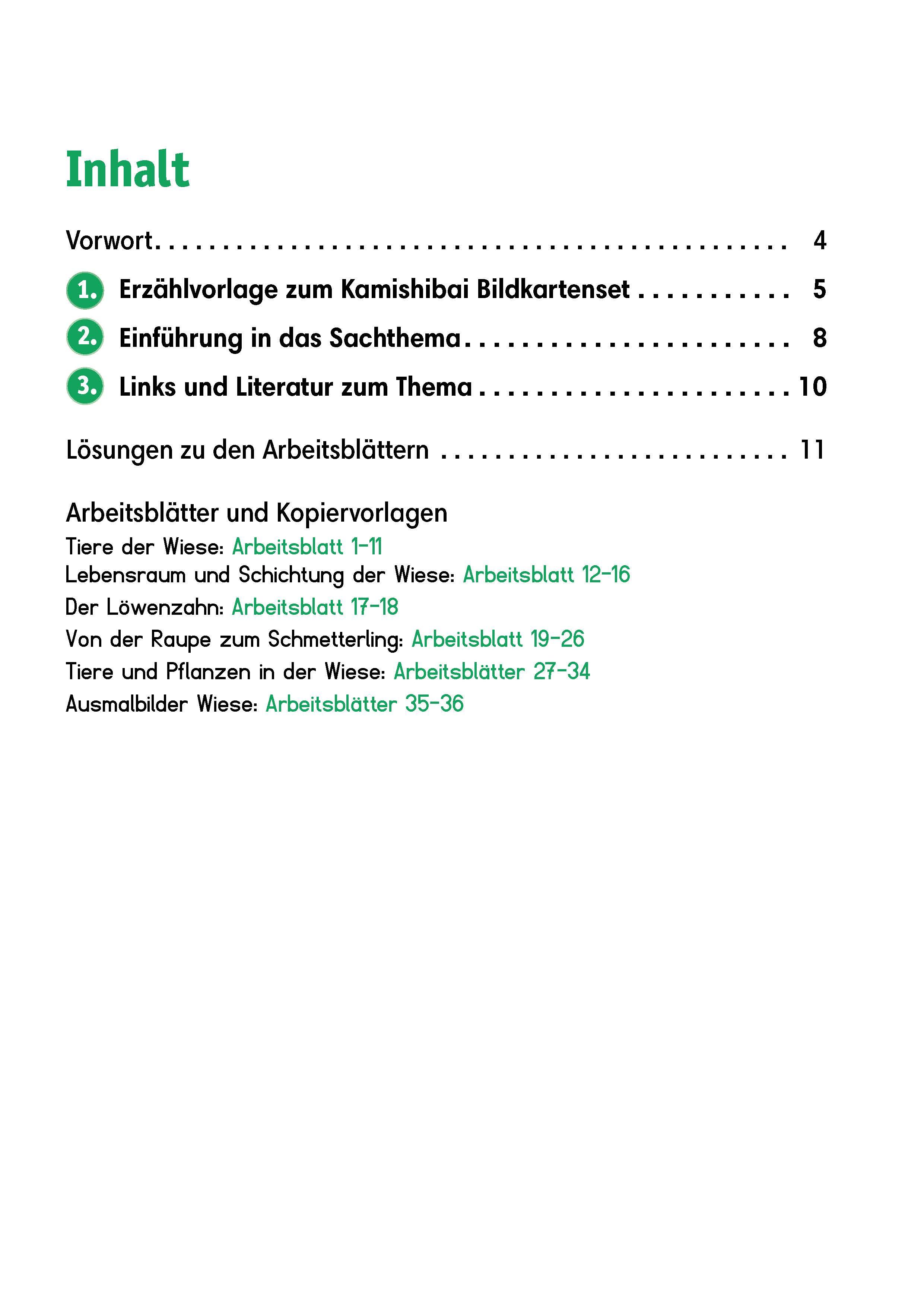 Innenansicht zu Arbeitsmaterial Grundschule. Sachunterricht. Tiere und Pflanzen in der Wiese