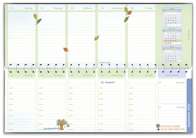 Innenansicht zu Der Wochen-Tischkalender für das Kita-Jahr 2020/2021